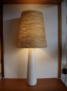 Absolutley stunning Original vintage designer Lotte Bostlund ceramic lamp base w/ a new original Lotte lampshade - Mid-century modern lighting at it&#039;s best - 2 available(A PAIR) - they measure - 18.5&quot;without the shade and 34&quot;w/the shade - (SOLD)