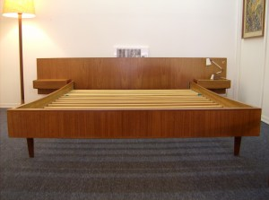 "Gorgeous Mid-century modern teak double bed with floating end tables and nice tapered conical legs - all you need is a mattress and/or foam that measures 55""X74.5"" - (SOLD)"