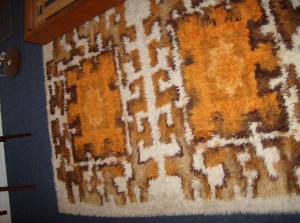 "A Striking Mid-century modern rug -fantastic condition - perfect for any room in your Mid-century modern home - this beauty measures - 54""X76"" - (SOLD)"