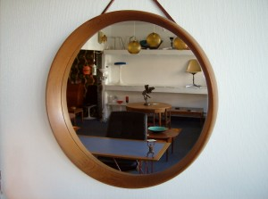 "Spectacular Mid-century modern Danish teak mirror by Pedersen & Hansen - Denmark - well known for their very high quality craftmanship -this beauty measures just over 14"" in diameter -  (SOLD)"