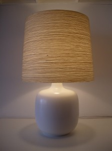 Unbelievably striking Mid-century modern designer Lotte Bostlund ceramic lamp with it's original fiberglass and impregnated yarn shade - what a beautiful glow - perfect for any style of home - (SOLD)