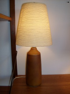 Marvelous early designer Lotte and Gunnar Bostlund ceramic lamp w/original shade - the carmel colour is absolutely gorgeous - (SOLD)
