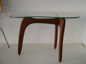 Marvelous solid teak & glass end table - the glass top is a kidney shape - very 1960's - (SOLD)