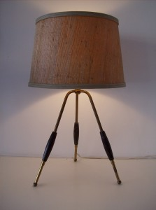 Spectacular 3 legged Atomic table lamp - brass metal legs with black wood accent pieces  - thiis lamp stands 21.5&quot; tall -(SOLD)