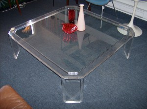 "Out of Sight 1970's Lucite and glass coffee table - overall great condition - this killer piece measures 47"" X47"" - would make a great dinner party table - just throw some large cushions down  and your set - (SOLD)"