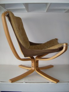 "A spectacular vintage Sigurd Ressell ""Falcon chair"" manufactured by Vatne Norway - this bentwood/canvas/fabric chair just oozes coolness - a definate must have for a Modernist enthusiast - the condition is really good, however there is some minor wear on the corners of the canvas under the cushioned seat - nothing a quick hand stitching wouldn't fix -  the fabric is a muted dijon mustard color - (SOLD)"