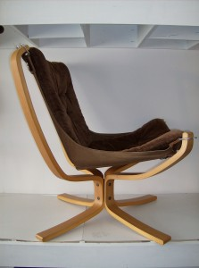 "A spectacular vintage Sigurd Ressell ""Falcon chair"" manufactured by Vatne Norway - this bentwood/canvas/fabric chair just oozes coolness - a definate must have for a Modernist enthusiast - the condition is really good, however there are a couple worn through spots in the corners of the canvas under the cushioned seat - nothing a quick hand stitching wouldn't fix - the fabric is chocolate brown in color - (SOLD)"