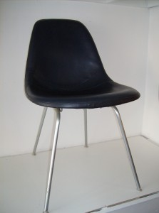 An original vintage chair from design master's Charles and Ray Eames for Herman Miller - grey back w/a deep navy blue vinyl front on an original H - base - (SOLD)