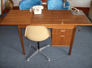 A wonderful vintage desk made in Sweden - great for small spaces as it has a drop down leaf (for when not in full use) - yours for only - (SOLD)