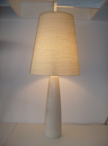 Very striking Mid-century modern ceramic lamp w/ it&#039;s original fiberglass shade by Dainsh designer&#039;s Lotte and Gunnar Bostlund  - made in Canada - this lamp measures 21.5&quot; tall without the shade and 34.5&quot; tall with the shade - (SOLD)