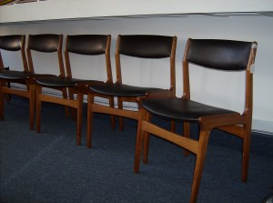 Danish teak/black naughahyde dining chairs - manufactured by Dyrlund - Denmark - super sculptural - SOLD