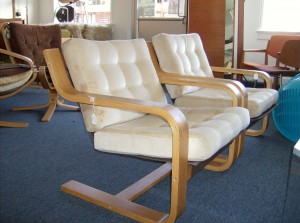Marvelous vintage bentwood loungers - these chairs have incredible spring action, and are unbelievably comfortable - the cushions could stand a cleaning or reupholstery hence the price - Last chance ONLY (SOLD)