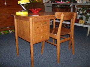 "Lovely small vintage teak desk and chair - 3 drawers nicely dovetailed - comes with key for locking the top drawer - great for small spaces, it measures 39.5""L X 29""H X 21.5""D - (SOLD)"