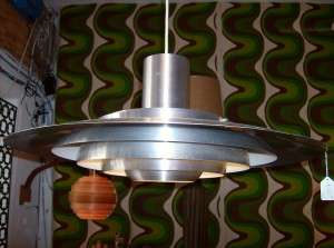 Outrageously cool Danish modern brushed metal pendant light - brilliant design - 27&quot; diameter - (SOLD)