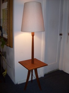 Incredible Mid-century modern teak floor lamp with a built-in table - what a fabulous design - excellent condition - (SOLD)