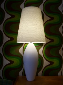 A magnificent vintage original Lotte and Gunner Bostlund ceramic lamp w/ the original fiberglass and impregnated spun yarn - a PERFECT lamp for your home - (SOLD)