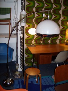 Funky 1960's/70's space-age chrome arc floor lamp - nice vintage condition - (SOLD)