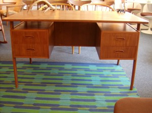 "Incredible Mid-century modern teak desk - lovely details - floating top and a 3 piece bookshelf on the back side - a beautifully dovetailed draweres - a perfect size desk for small spaces - 51""L x 27""D x 29""H - (SOLD)"