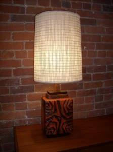 Extraordinary 1960&#039;s West German ceramic lamp by Carsten&#039;s - marked on base - incredible condition - stunning design and glaze - ( RARE to find a lamp) -stands 33&quot; tall (SOLD)