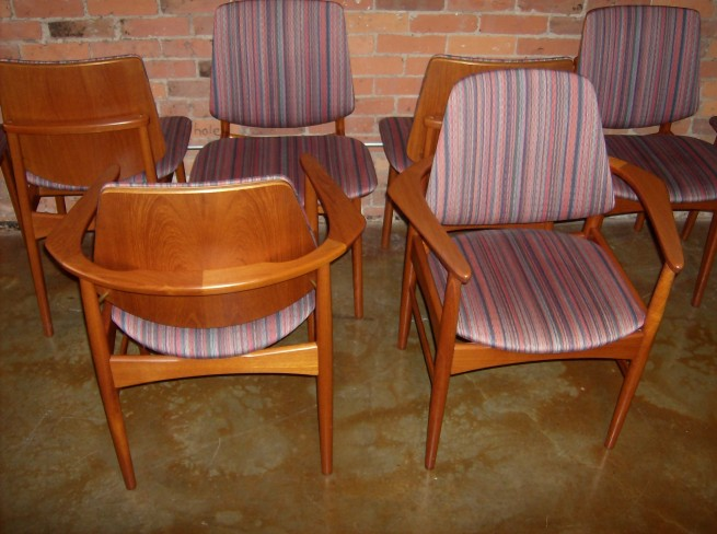 Exceptional set of 8 Danish teak dining chairs – 6 side chairs and 2 arm chairs – immaculate condition – $2200/set