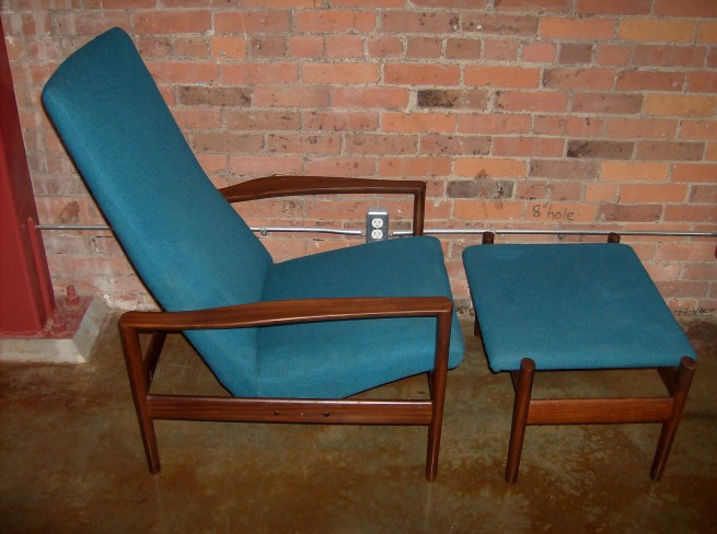Amazing lounge chair and ottoman made in Norway in the 1960,s by Dokka Mobler (SOLD)